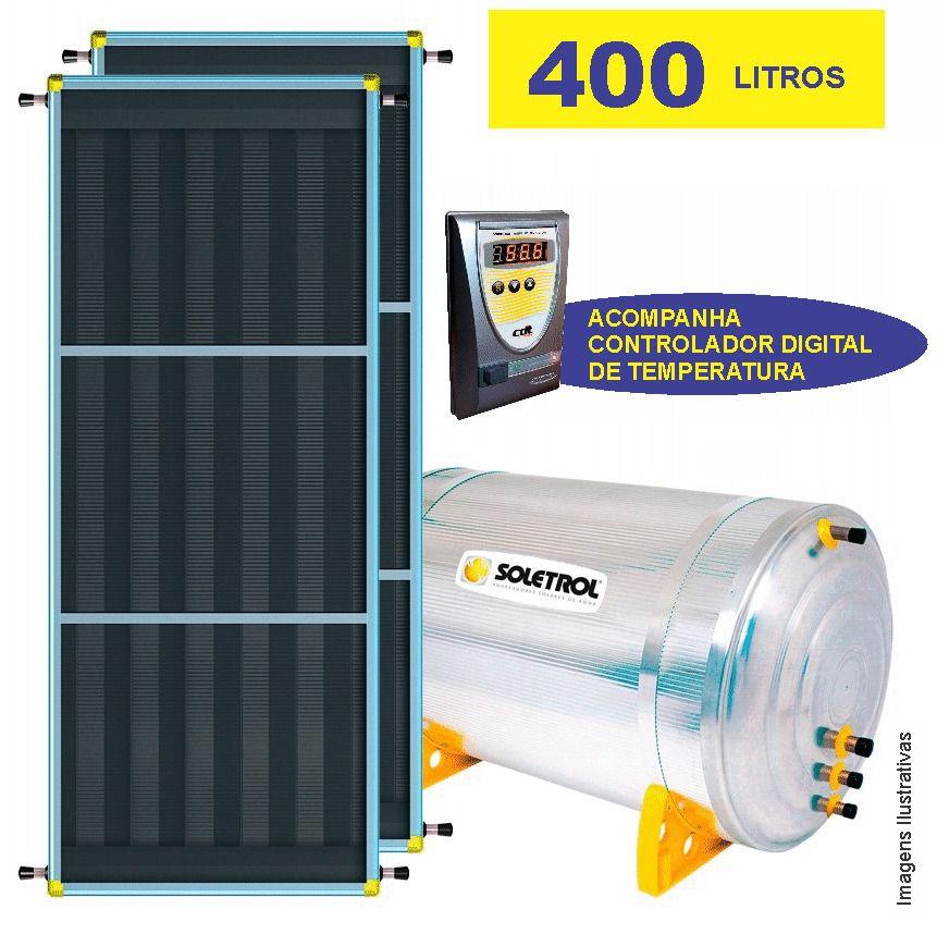 Kit Aquecedor Solar Soletrol 400 Litros Digital com Coletores Solares de 1.03m² - Baixa Pressão