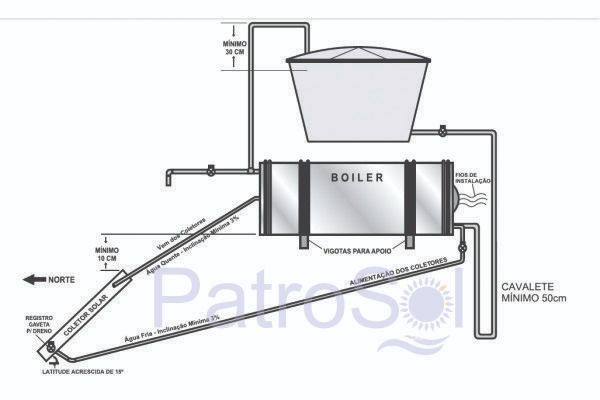 Boiler Para Aquecedor Solar 400 litros  Baixa Pressão Inox 304 Nível/Desnível