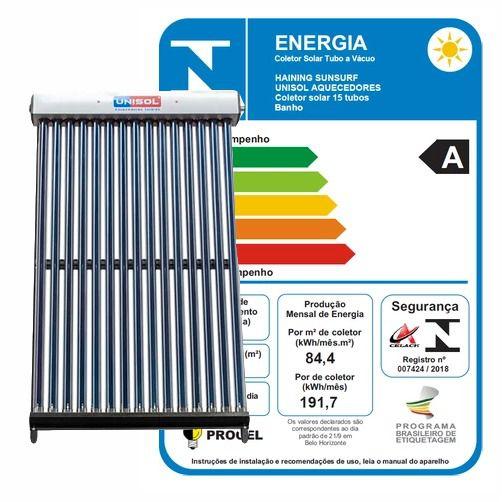 Coletor Aquecedor Solar Modular a Vácuo 15 Tubos Aço Inox 316 UNISOL