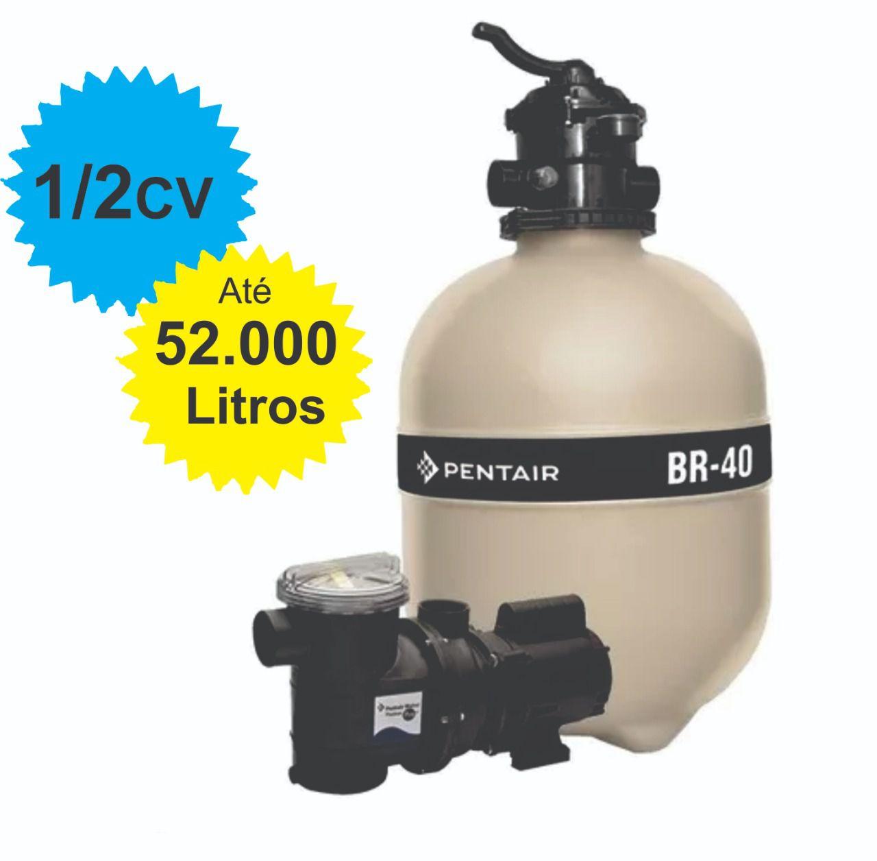 Filtro e Bomba 1/2CV Pentair BR-40 Piscina até 52.000 Litros
