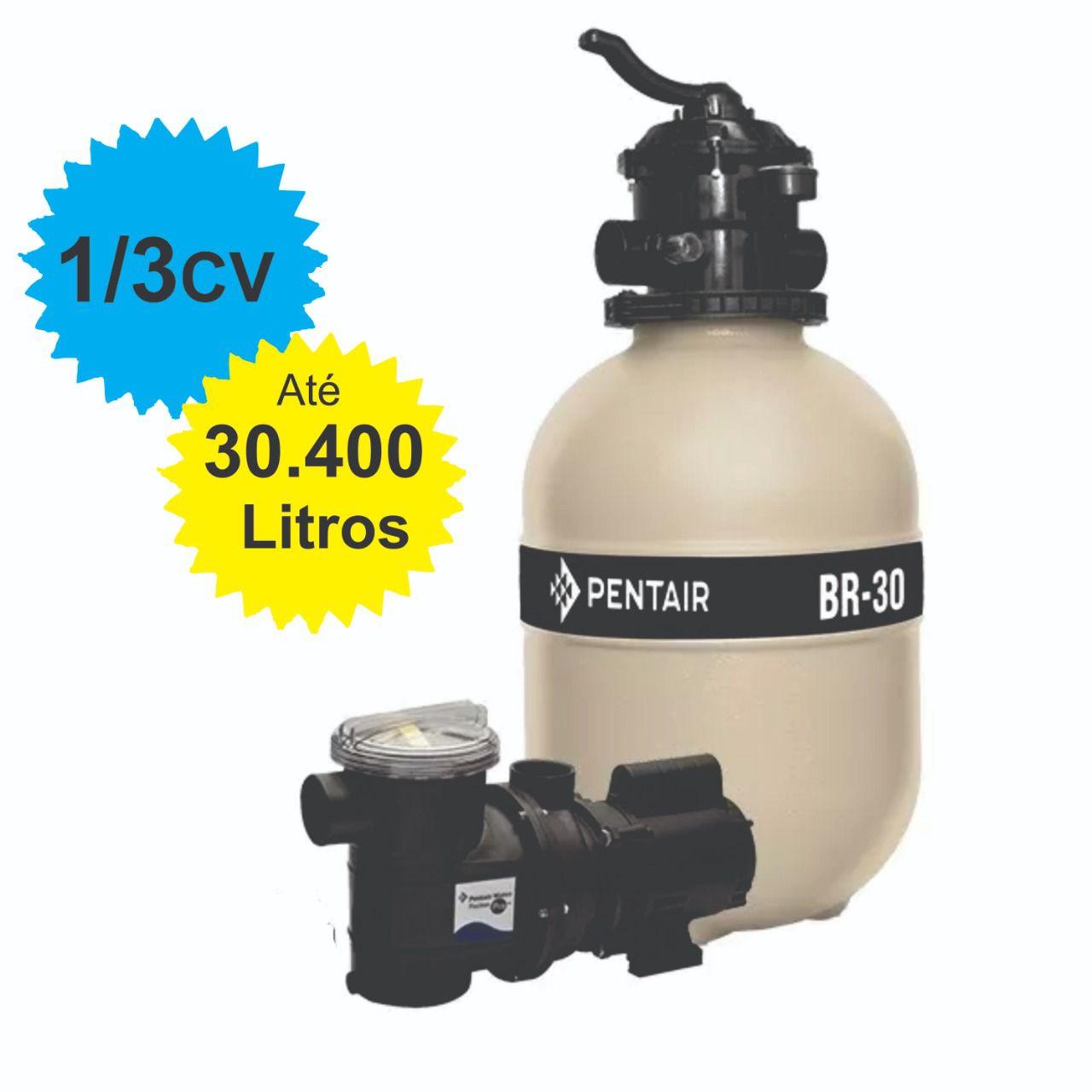 Filtro e Bomba 1/3CV Pentair BR-30 Piscina até 30.400 Litros