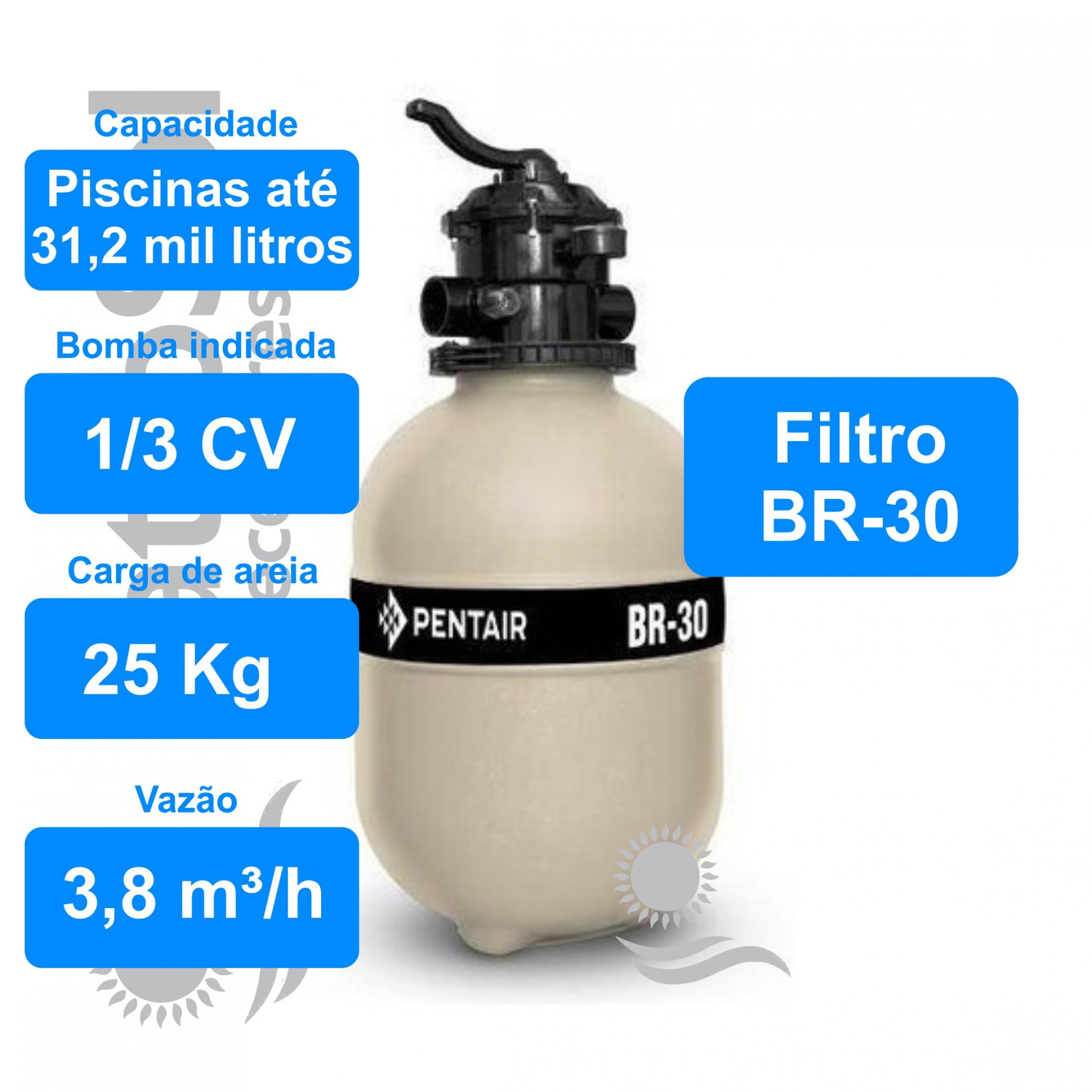 Filtro Para Piscina Pentair Sibrape Br-30  Até 31.200 Mil Litros