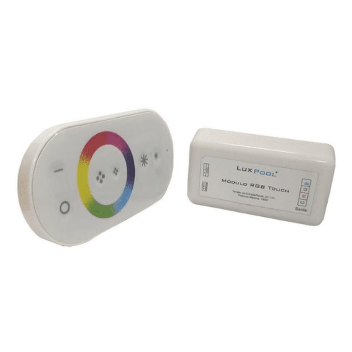 Kit 2 Leds 9W Iluminação Piscina + Módulo Rgb Touch C/ Fonte