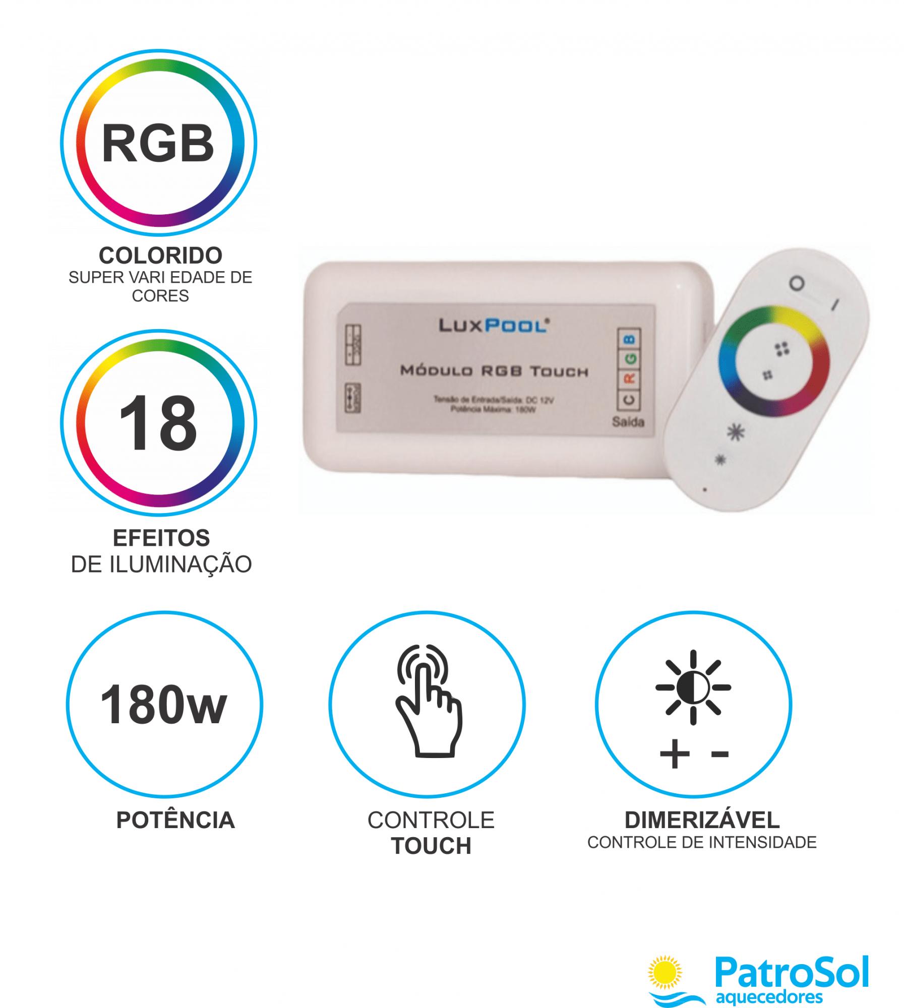 Kit 2 Leds 4W Iluminação Piscina + Módulo Rgb Touch C/ Fonte