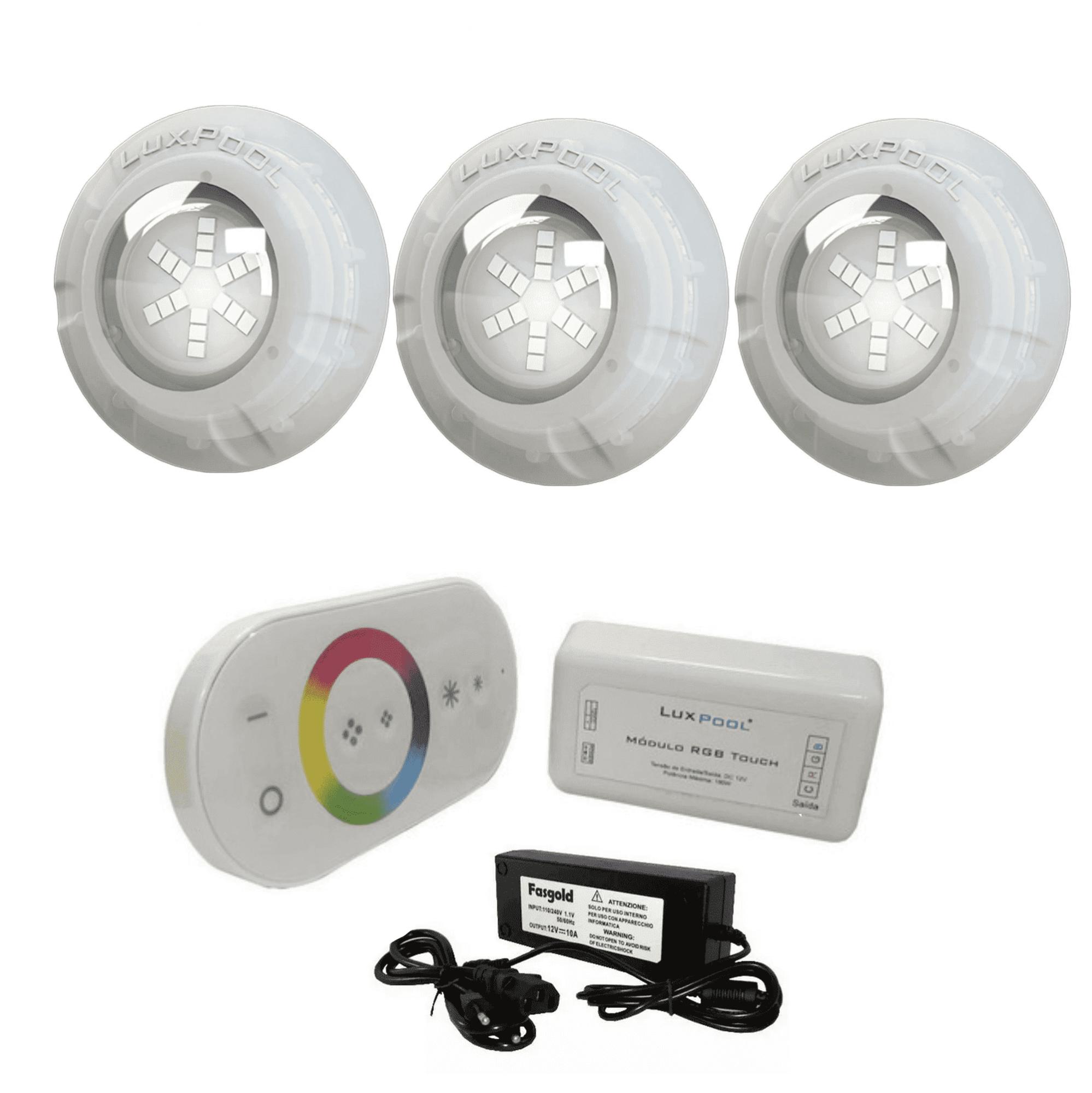 Kit 3 Leds 4W Iluminação Piscina + Módulo Rgb Touch C/ Fonte
