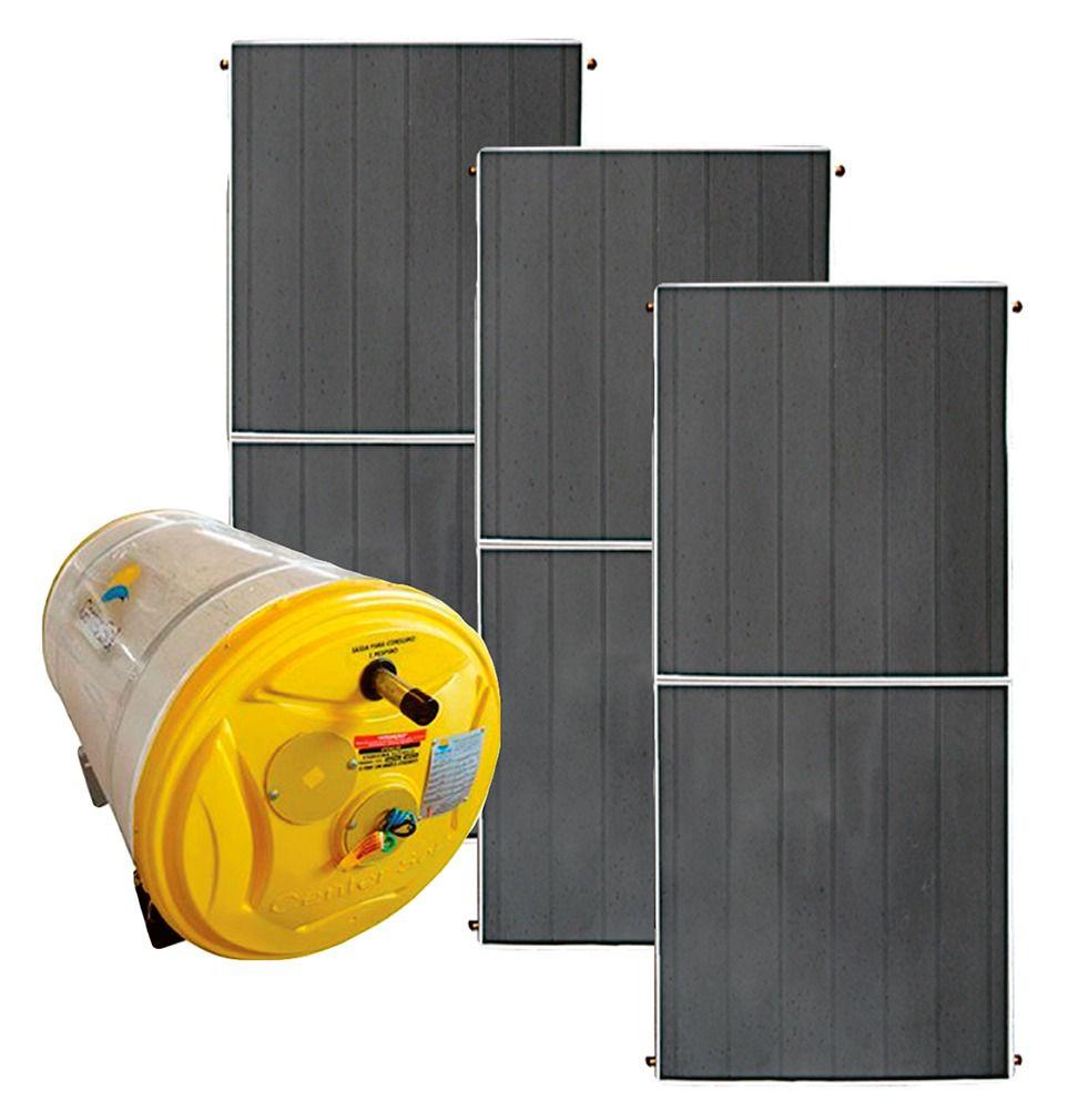 Aquecedor Solar – Boiler 500 Litros Nível/Desnível Baixa Pressão + 3 placas 2x1m cobre