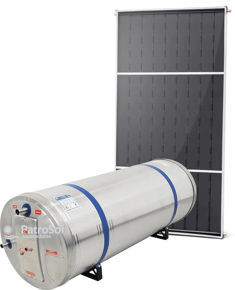 Kit Aquecedor Solar Com Boiler 200 Litros Desnível + 1 Placa 2x1m Vidro Termo Endurecido Cobre Unisol
