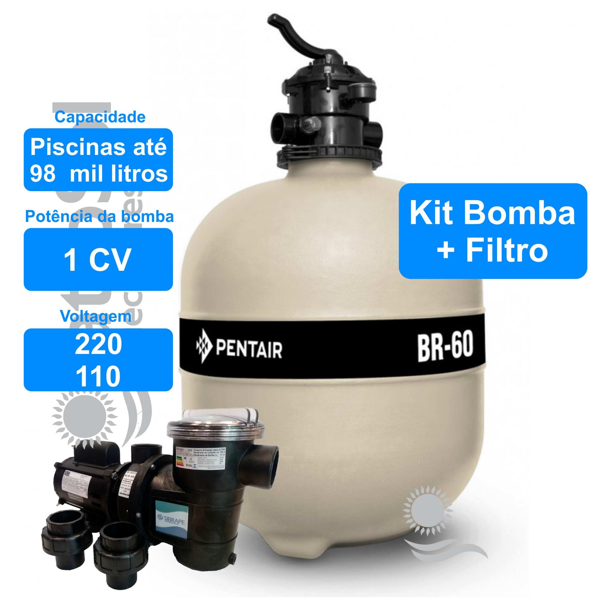 Kit Filtro BR-60 e Bomba 1 cv para Piscina até 98.000 Litros
