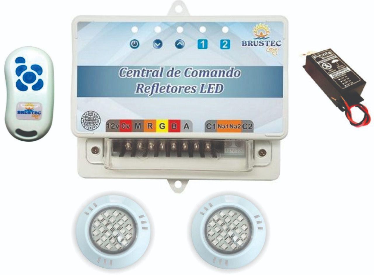 Kit Iluminação Com 2 Refletores e Central Sonora - Brustec