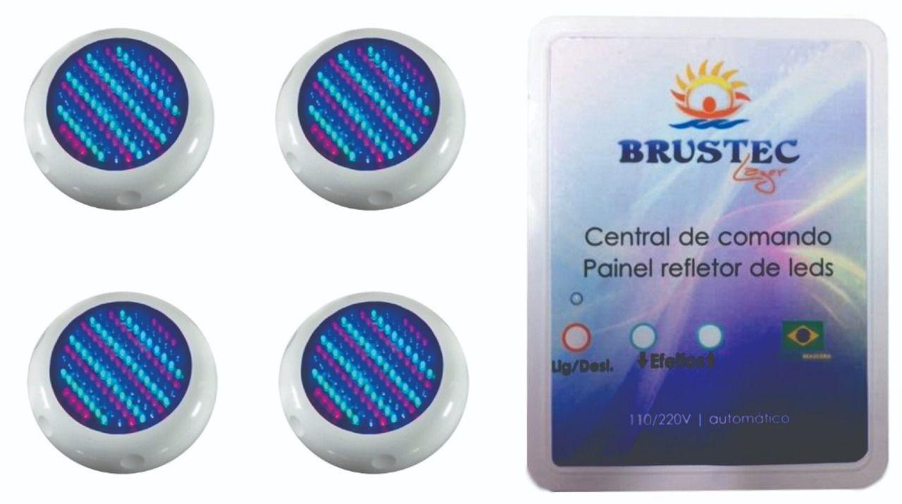 Kit Iluminação com 4 Refletores 70 Pontos e Central RGB 3A - Brustec