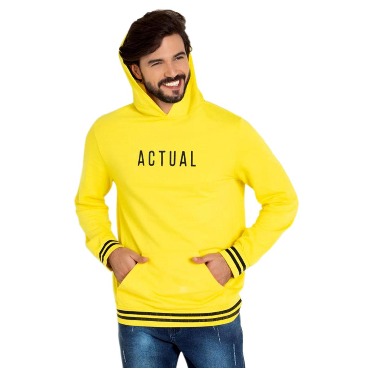 Blusa Actual Moletinho Com Capuz E Bolso Amarelo