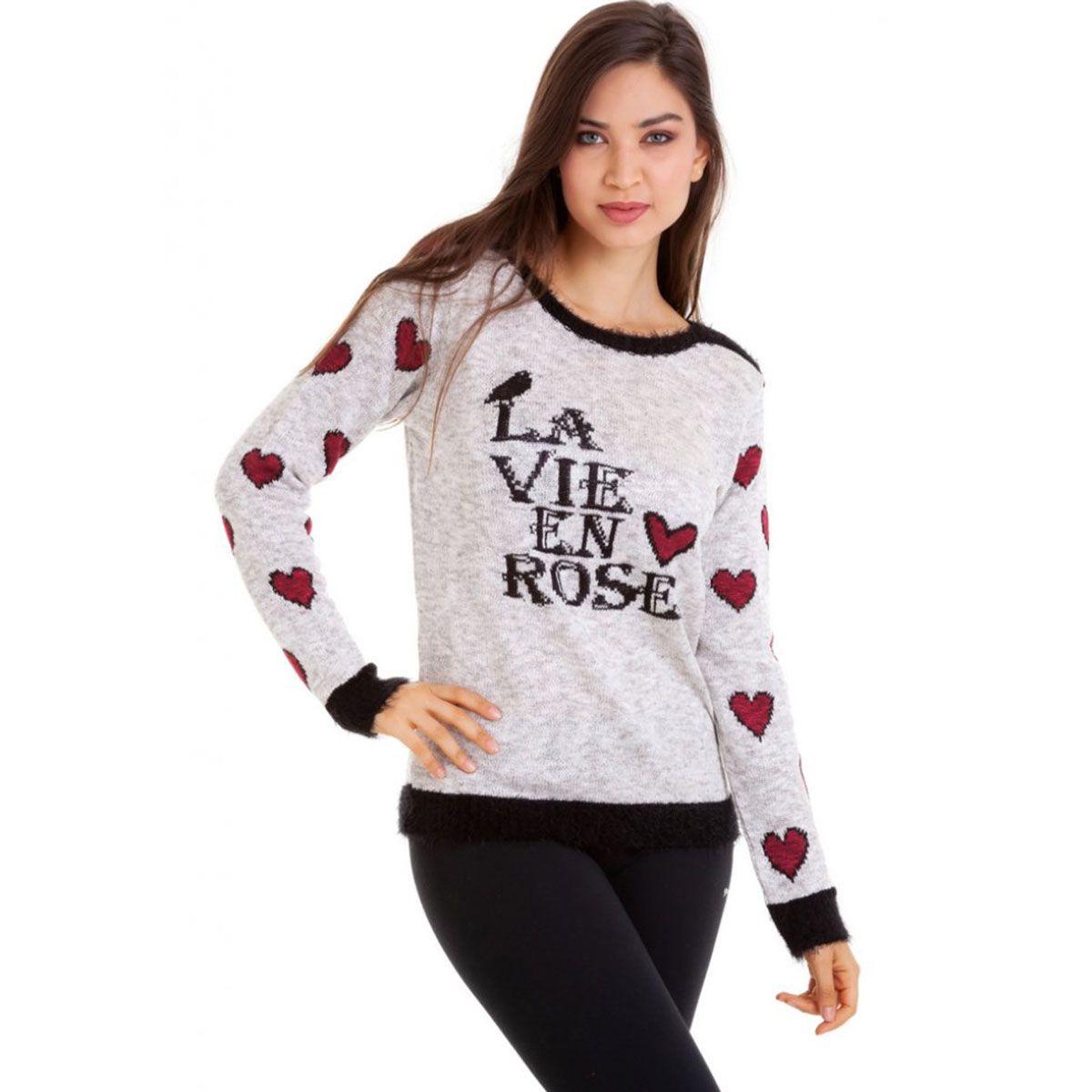 Blusa Tricot Manga Coração
