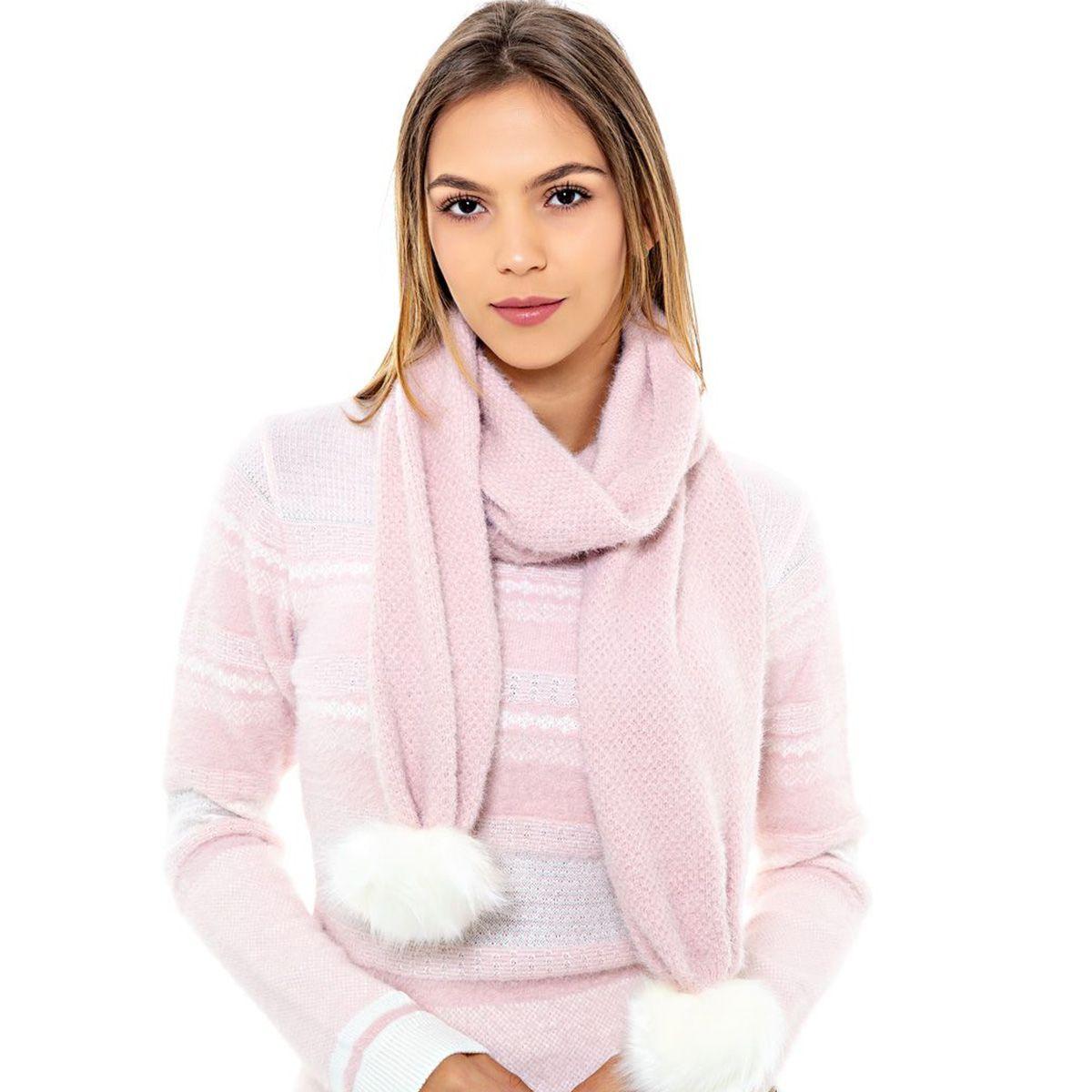 Cachecol Katze Pompom Pele Rosa