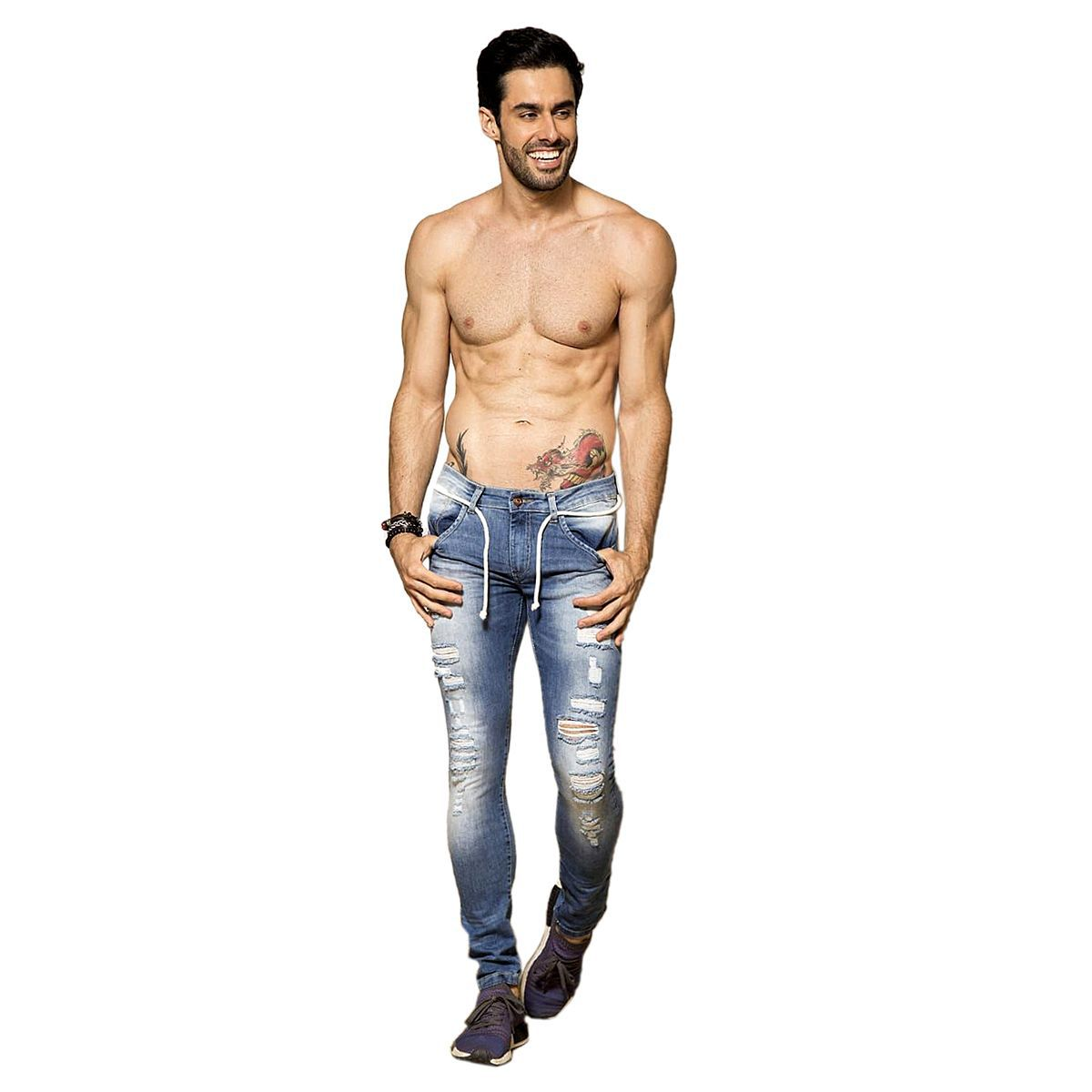 Calça Jeans Destroyed Skinny Azul