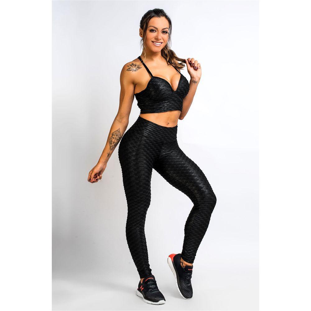 Calça Legging Feminina Preta com Brilho Winner