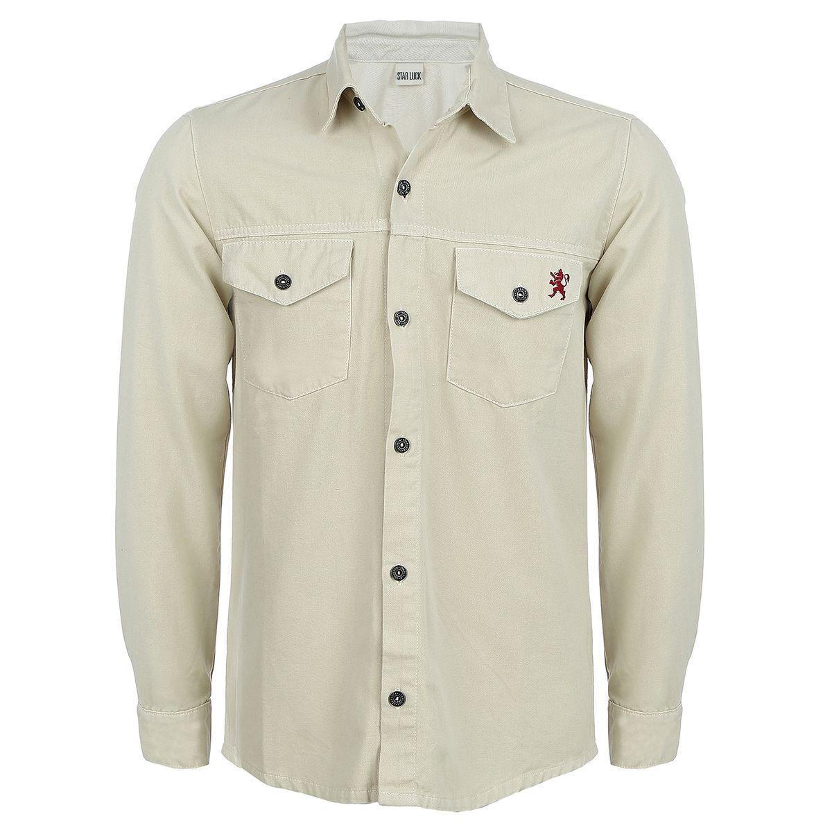 Camisa de Sarja Manga Longa Creme