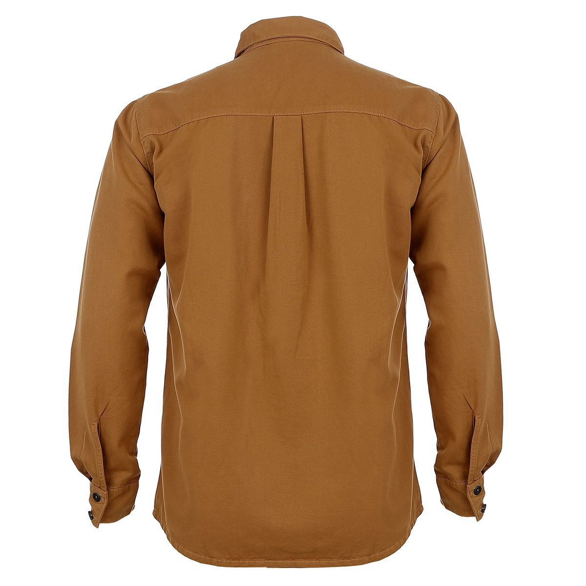 Camisa de Sarja Manga Longa Marrom