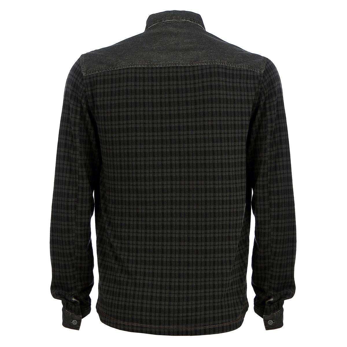 Camisa Manga Longa Flanelada Xadrez Preta