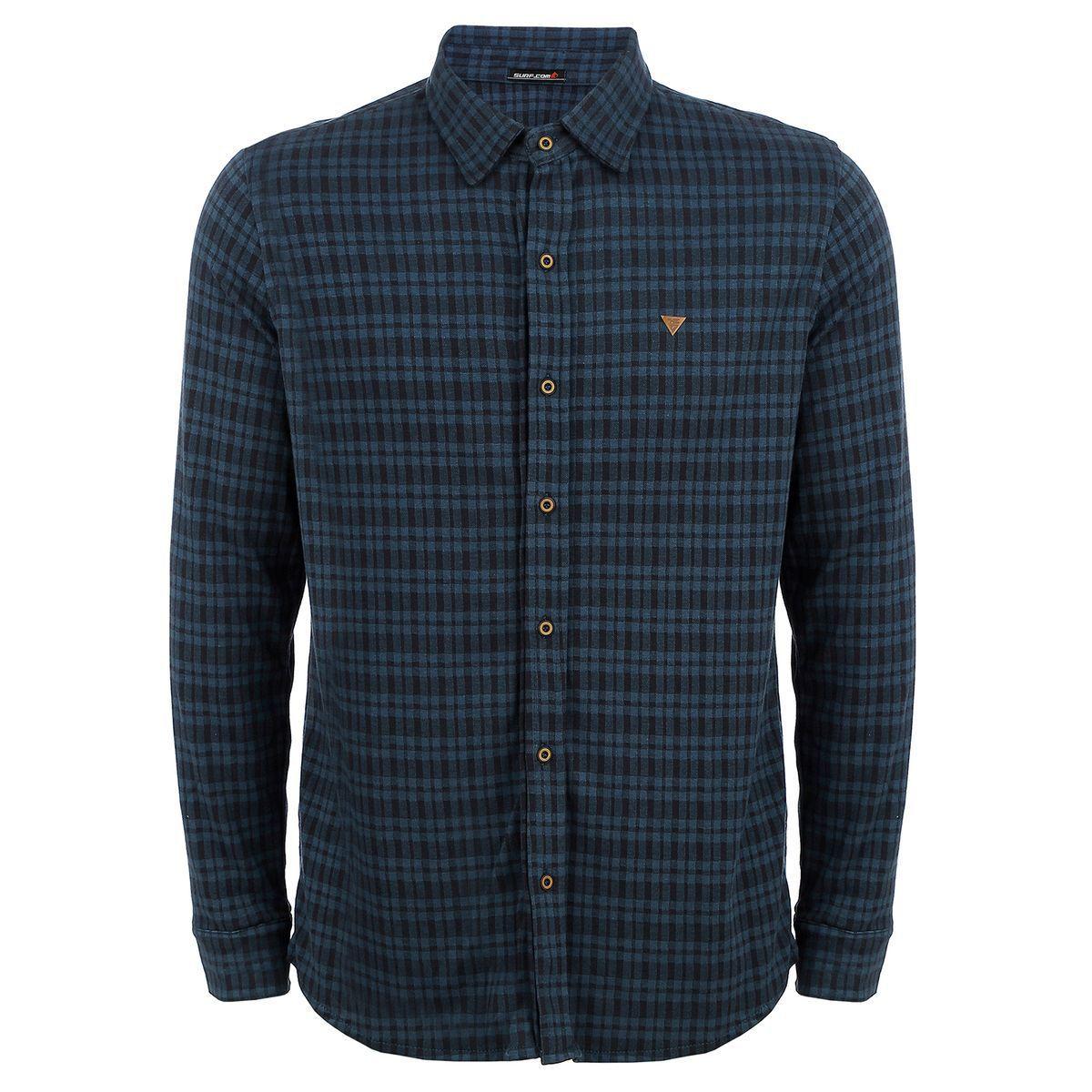 Camisa Manga Longa Flanelada Xadrez Azul