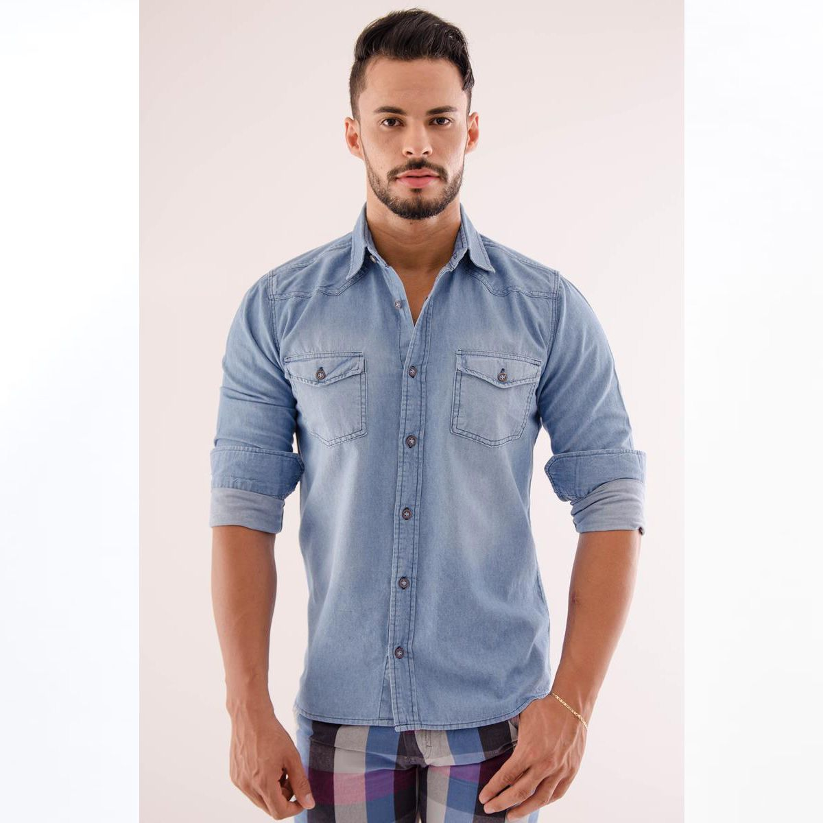 Camisa Place Jeans Slim Manga Longa