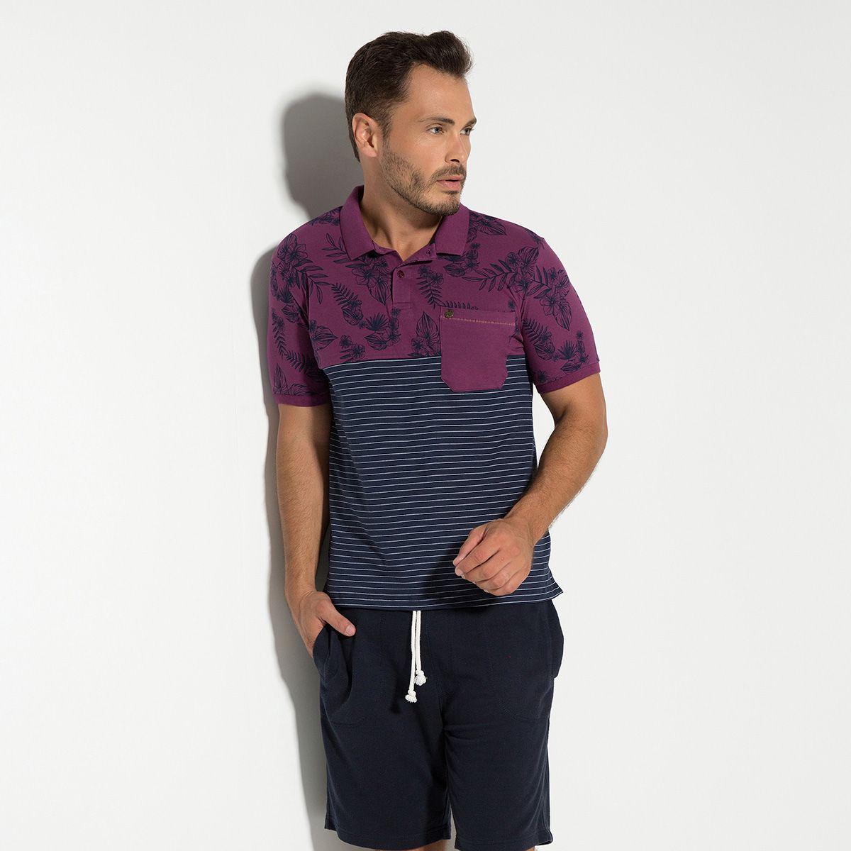 Camisa Polo Meia Malha com Elastano