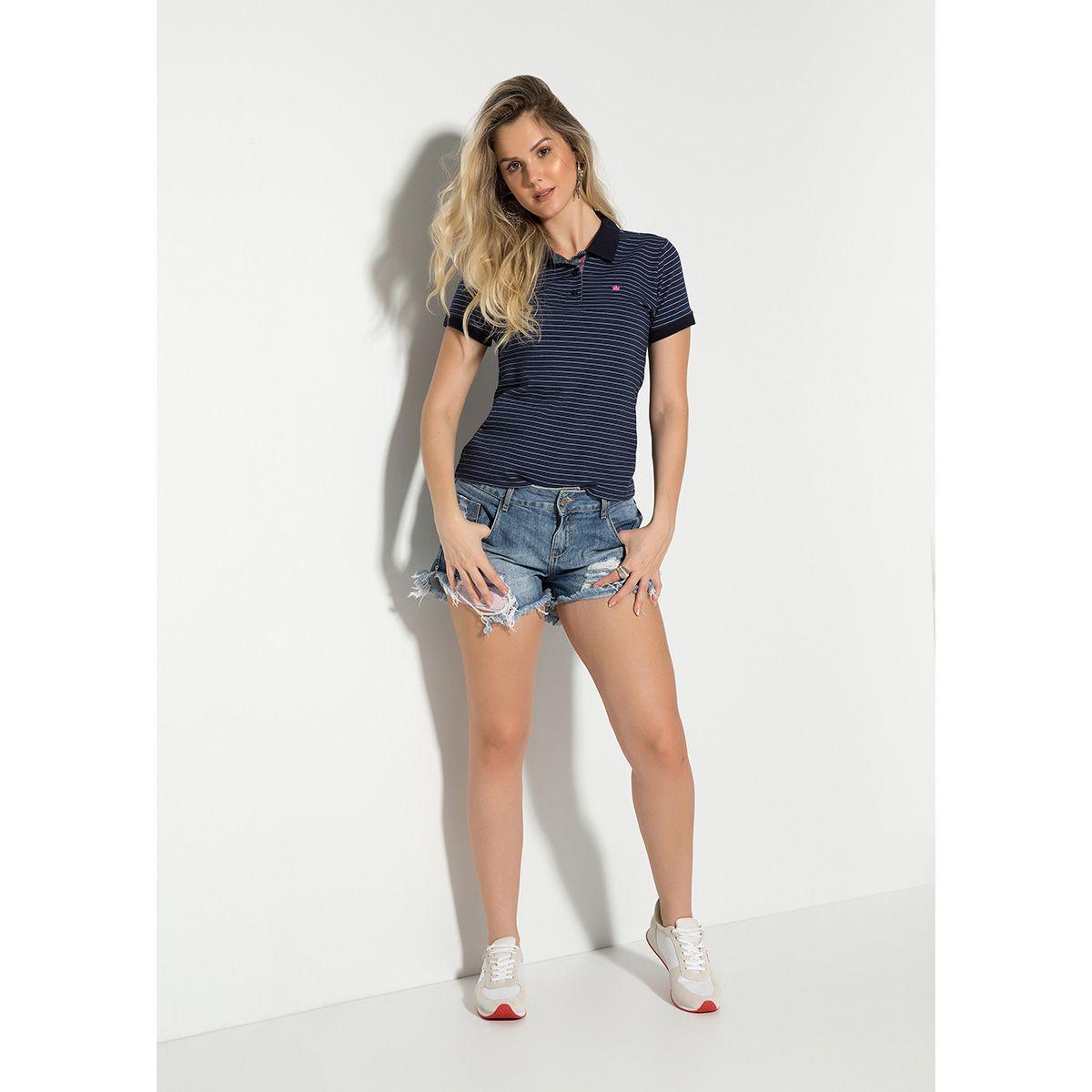 Camisa Polo Meia Malha Listrada Feminina