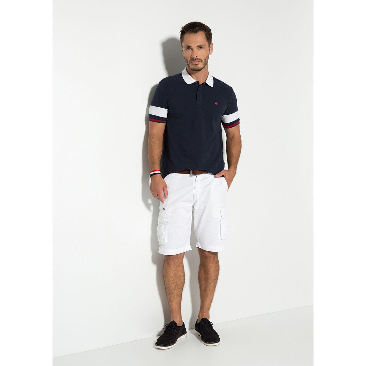 Camisa Polo Piquet Azul
