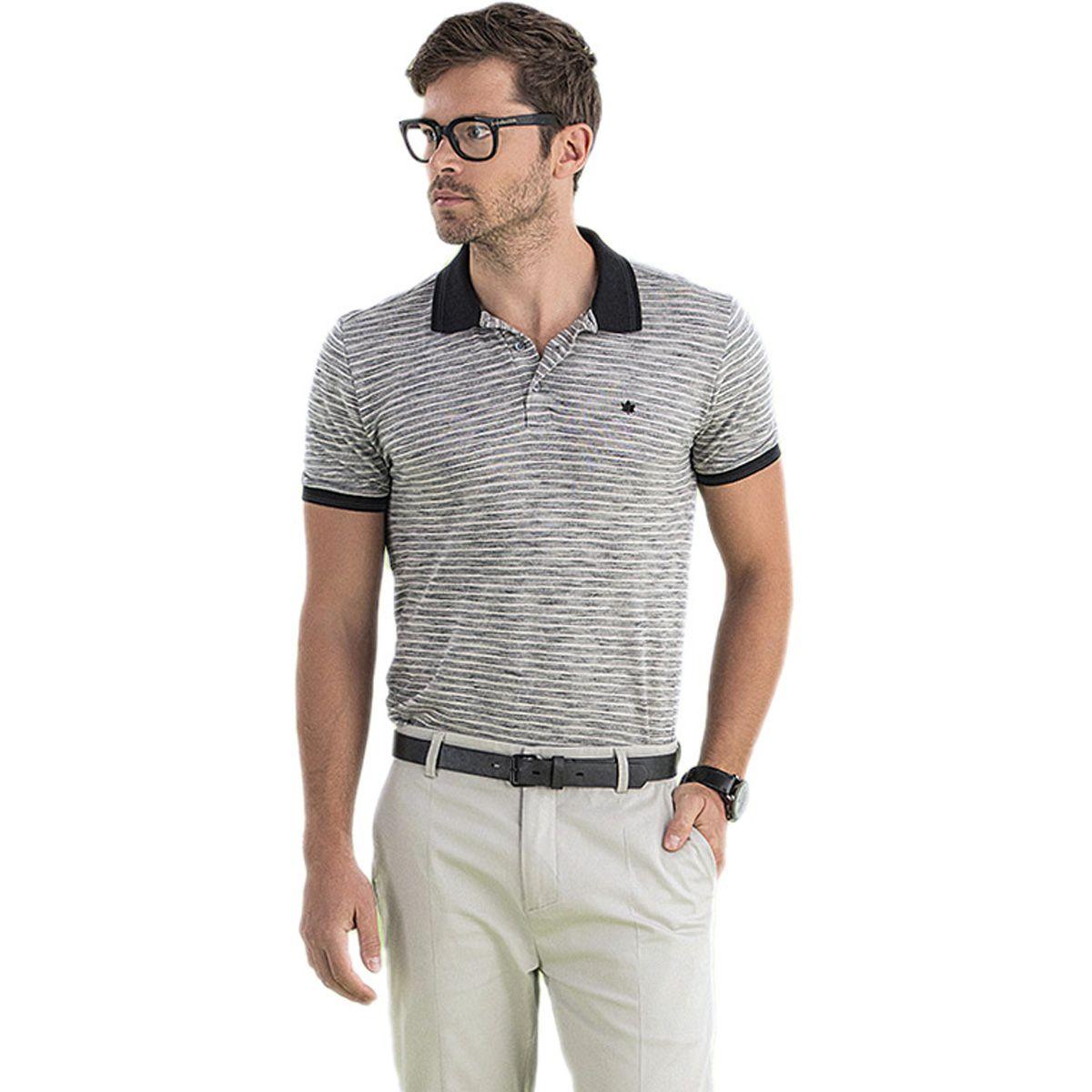 Camisa Polo Piquet Listrada Cinza e Preto