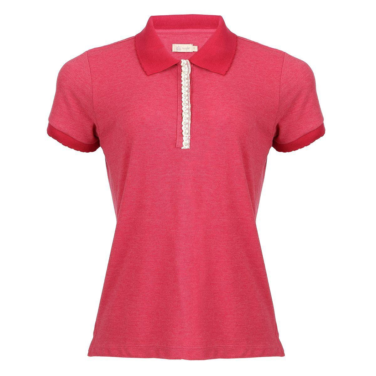 Camisa Polo Seeder Feminina com Renda Vermelha