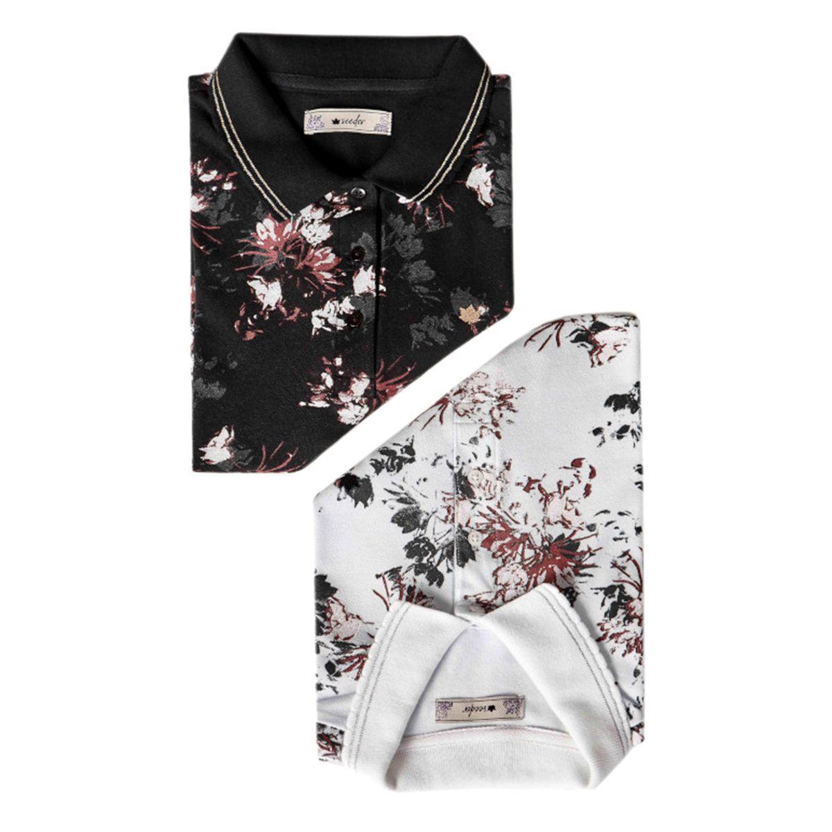 Camisa Polo Seeder Feminina Floral Branca
