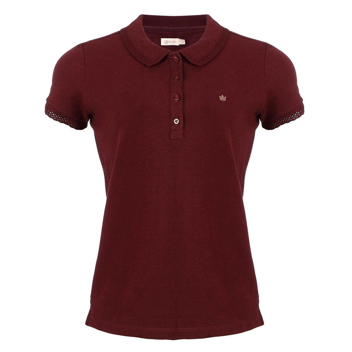 Camisa Polo Seeder Feminina Gola Bordada Vinho