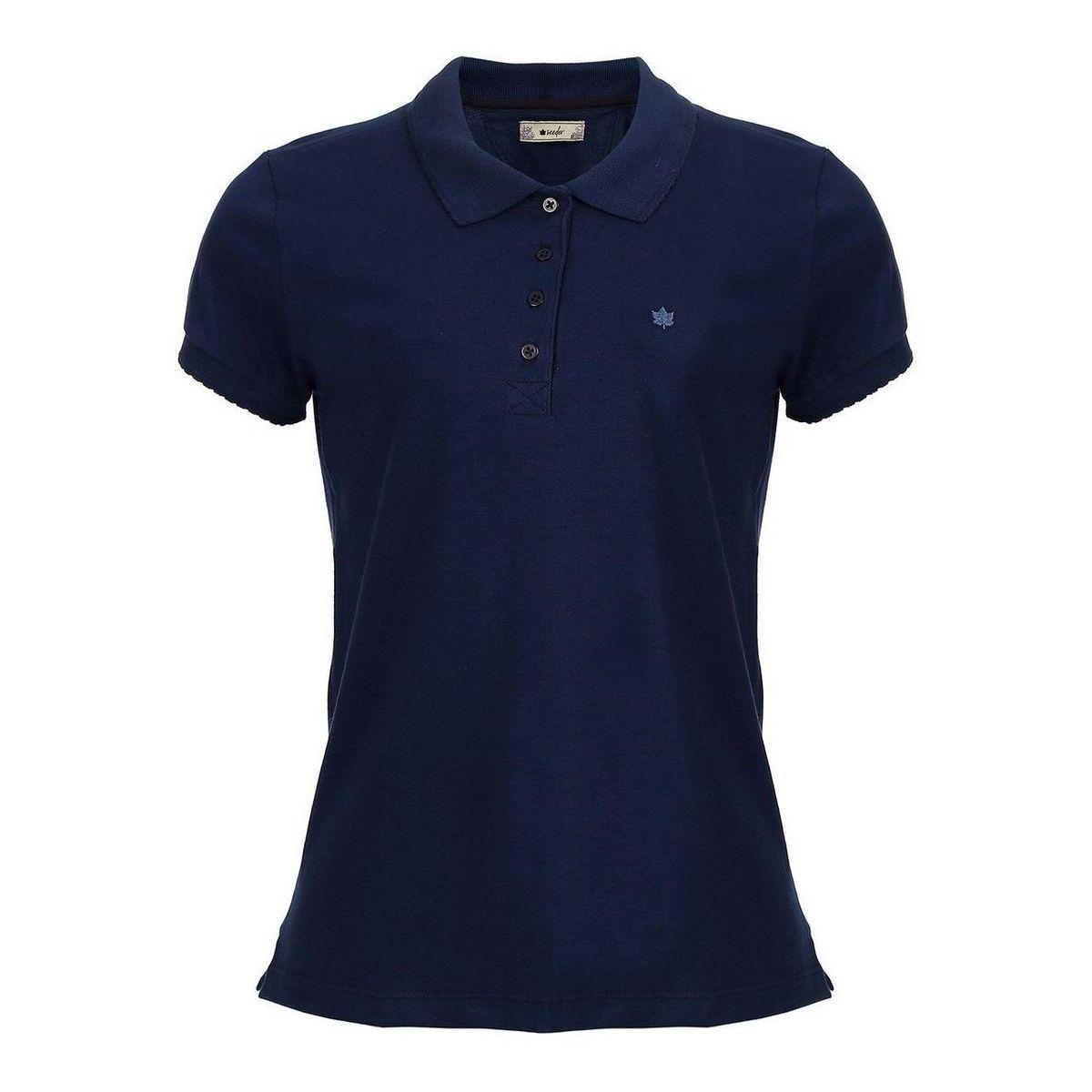Camisa Polo Seeder Feminina Piquet Azul