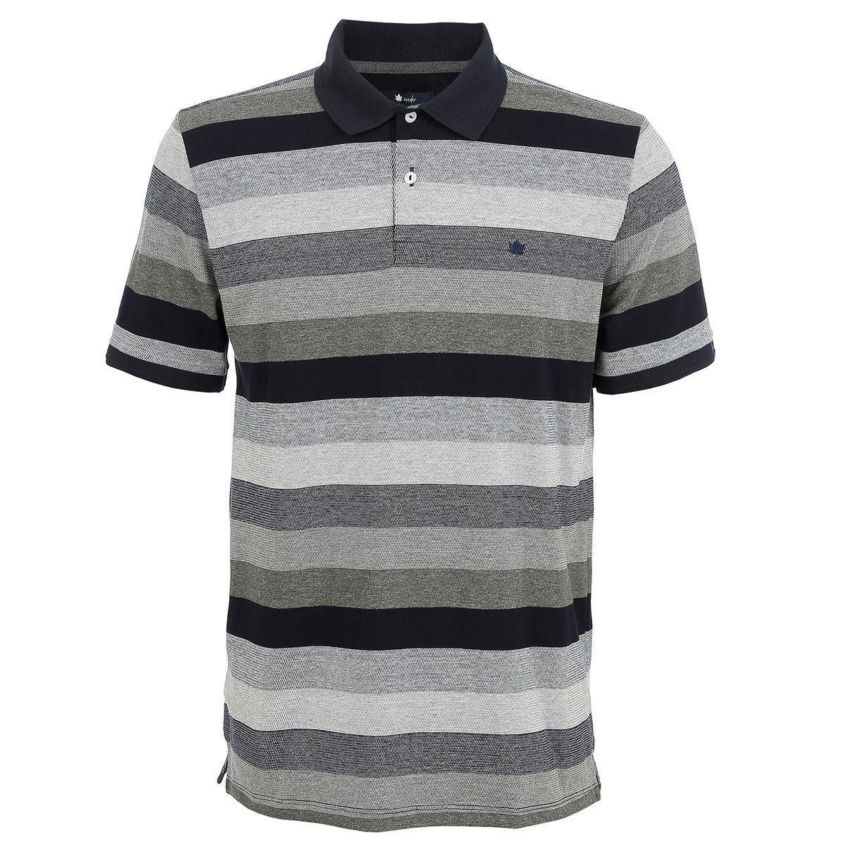Camisa Polo Seeder Listrada Azul e Cinza