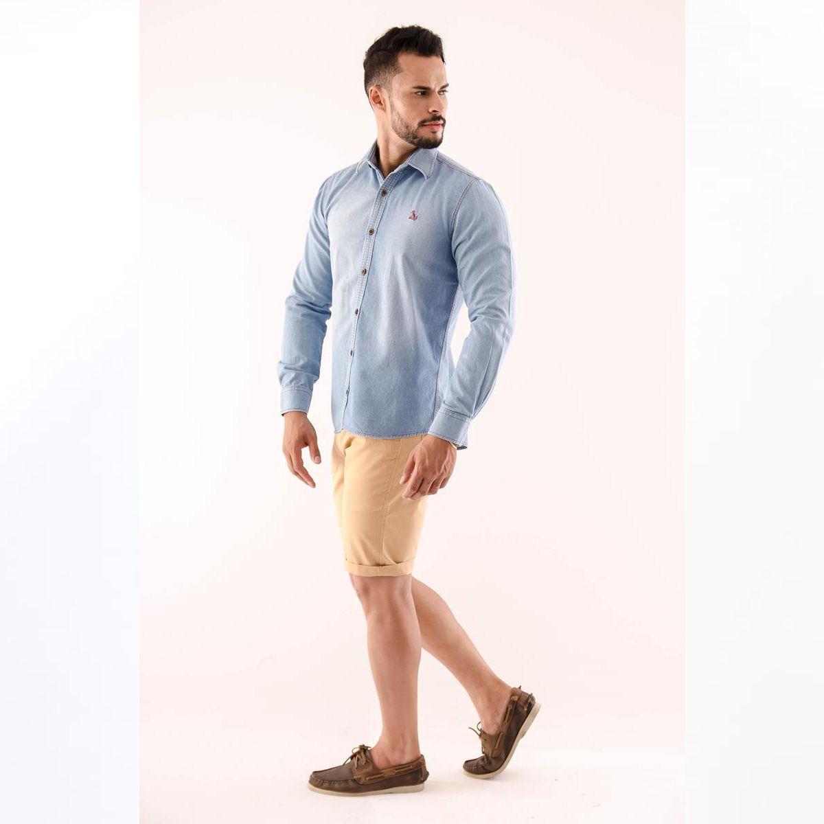 Camisa Spring Jeans Slim Manga Longa