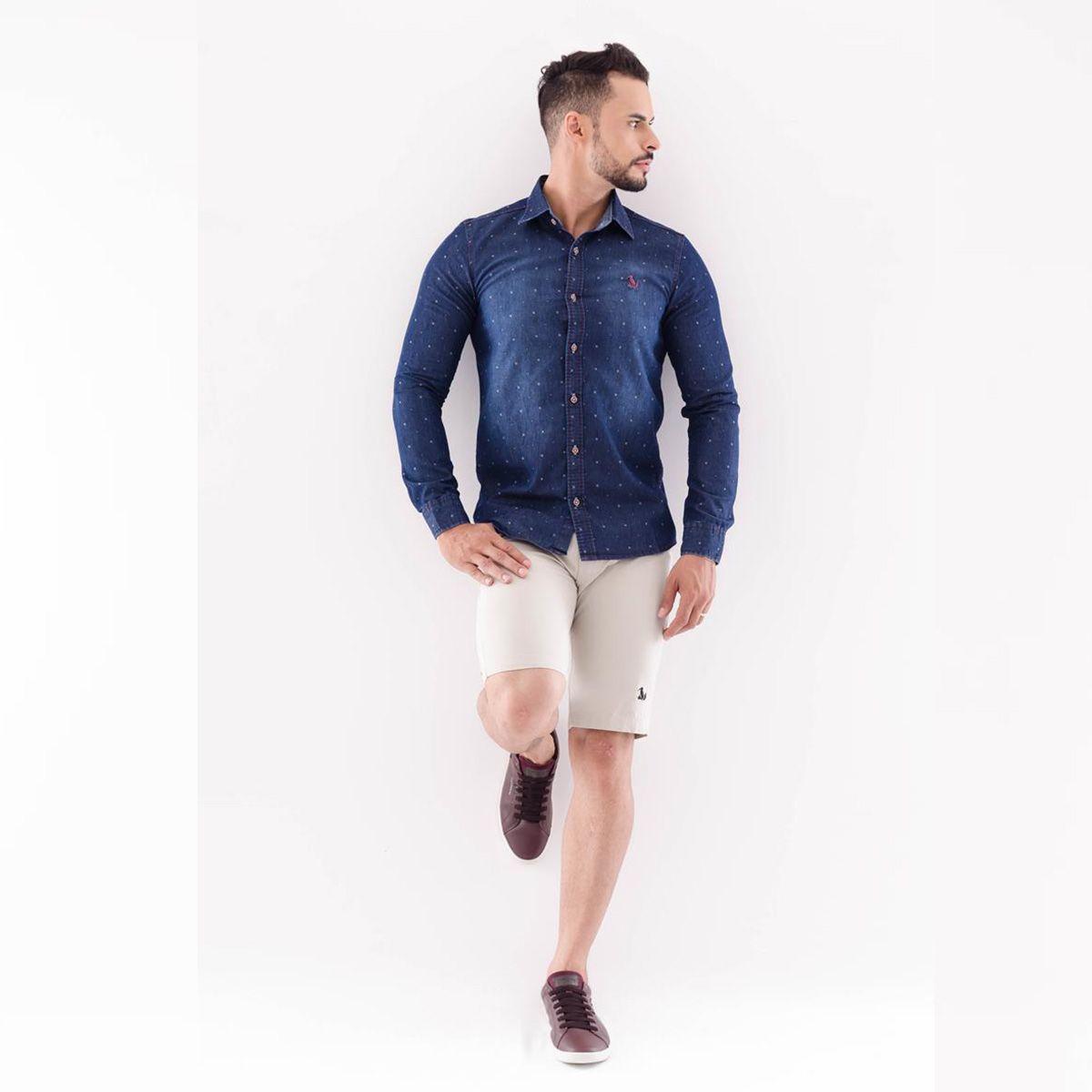 Camisa Vanila Jeans Slim Manga Longa
