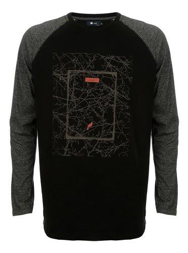 Camiseta Raglan Seeder Manga Longa Preta