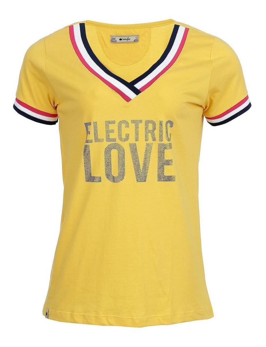 Camiseta Seeder Feminina Gola V Amarela