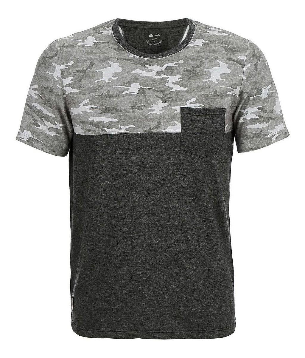Camiseta Seeder Meia Malha com Bolso Cinza