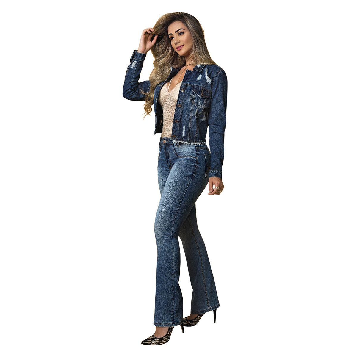Jaqueta Jeans Cropped Destroyd