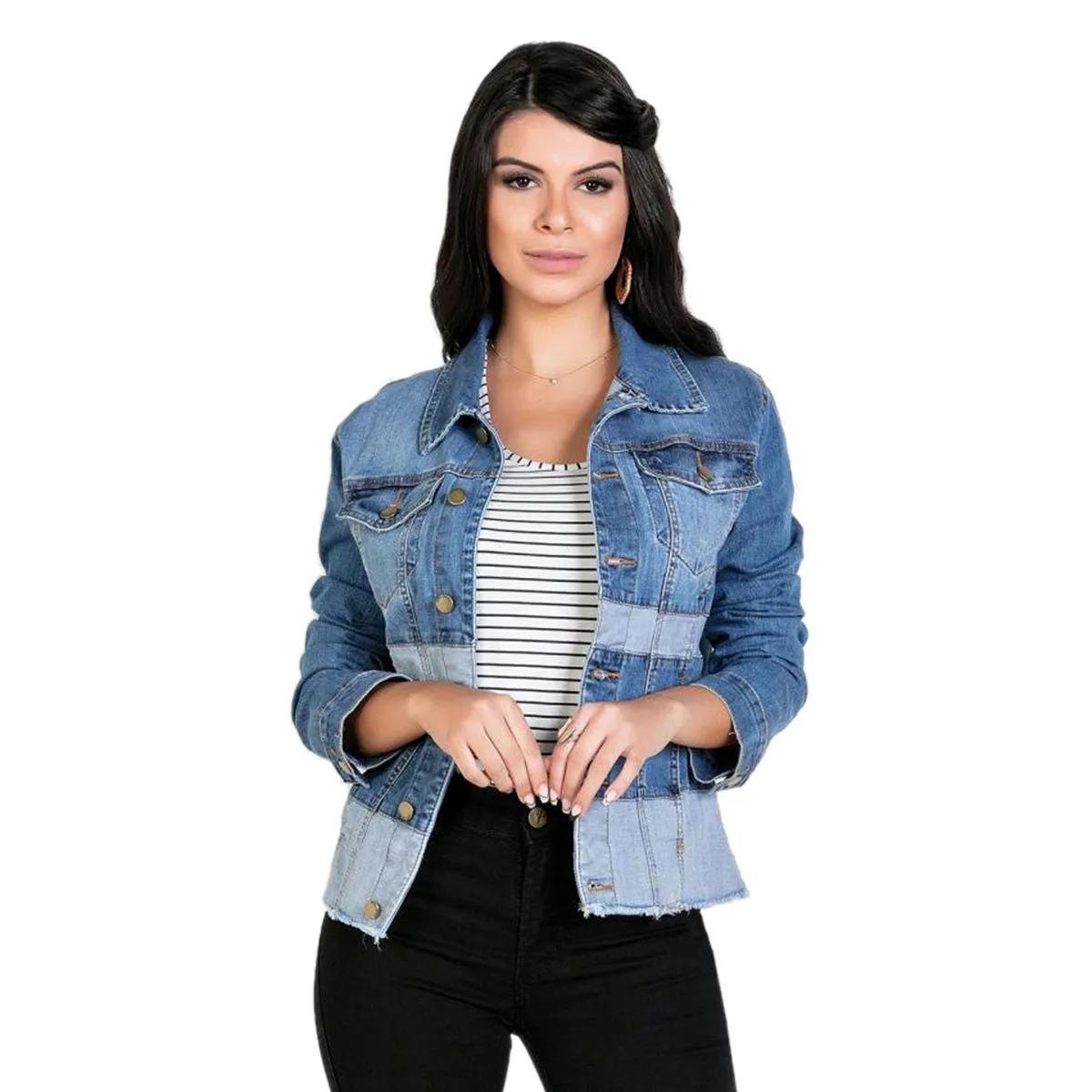 Jaqueta Jeans  Sawary Bicolor Azul