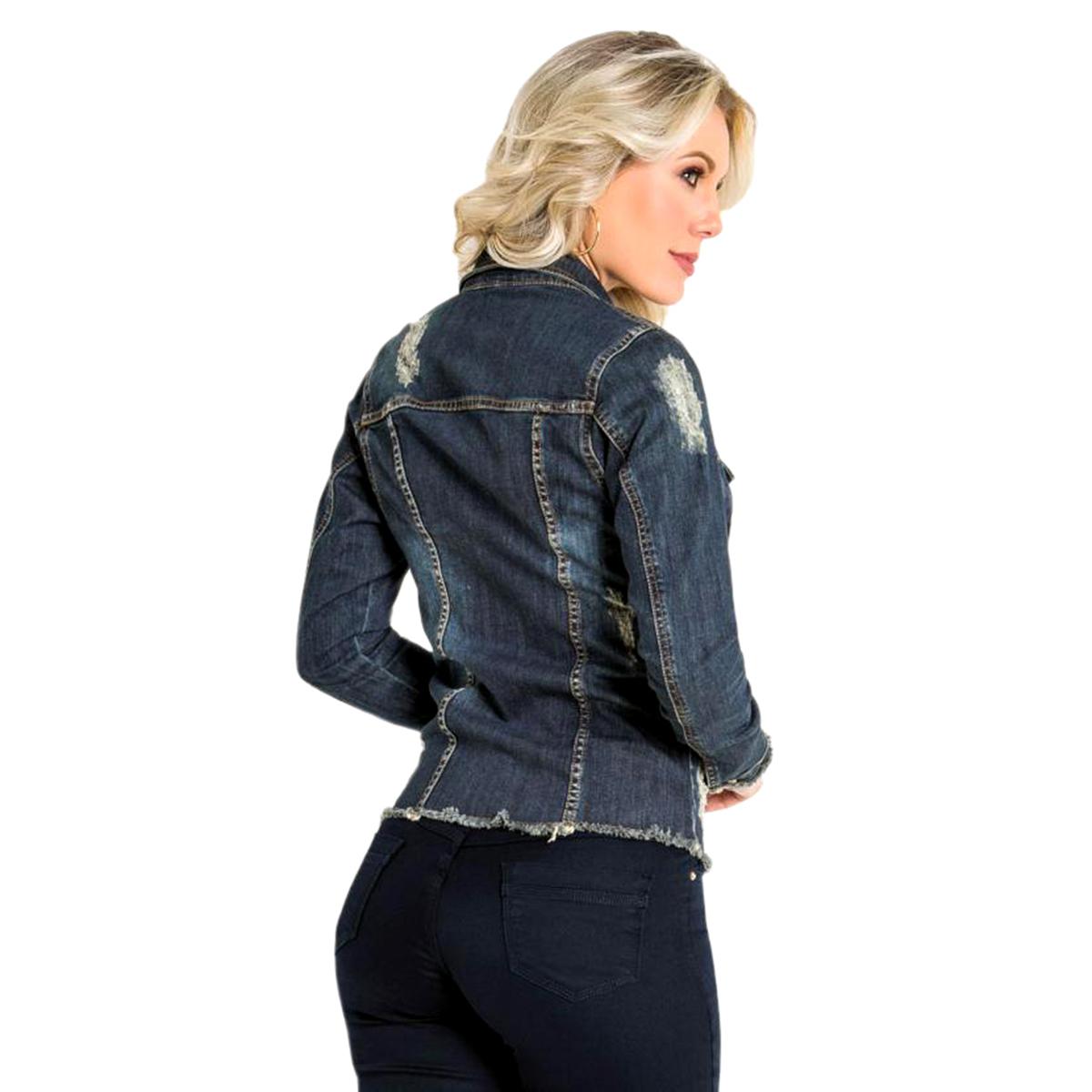 Jaqueta Jeans Sawary Detalhes Destroyed Azul
