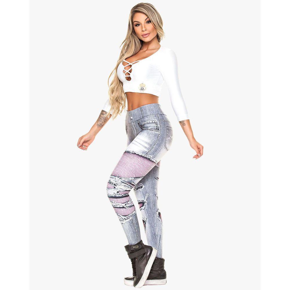 Legging Digital Jeans Mescla Rasgado