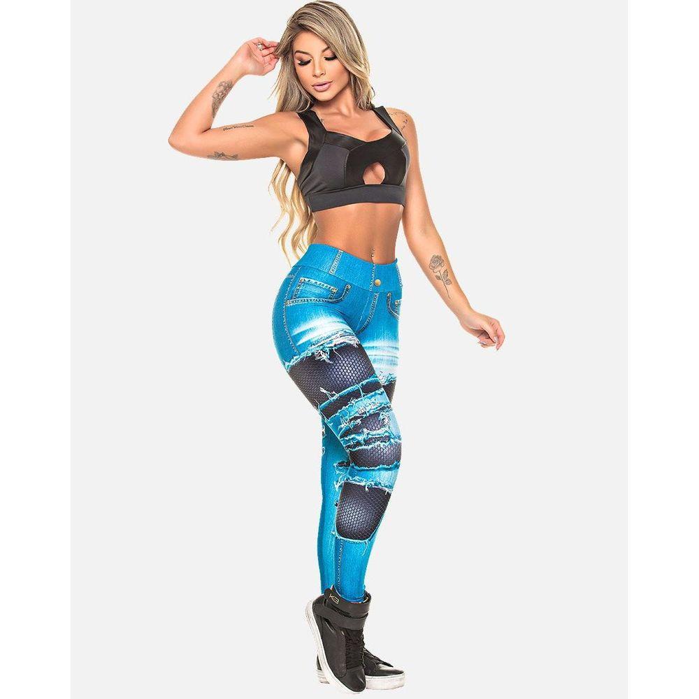 Legging Digital Jeans Rasgado