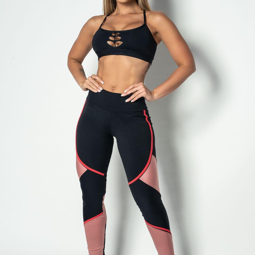 Legging Fitness Poliamida Recortes