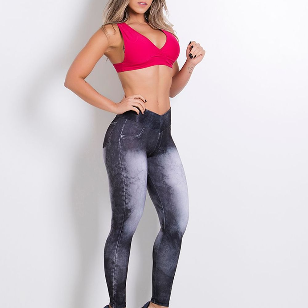 Legging Fitness Sublimada Fake Jeans