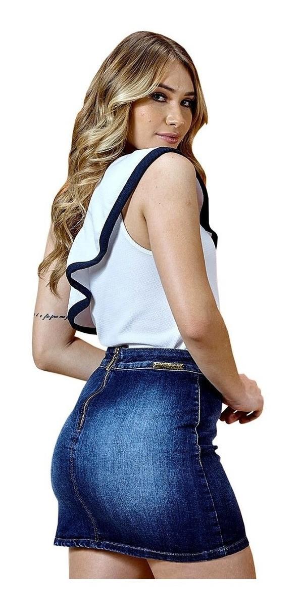 Mini Saia Caccau Jeans Cós Alto Azul