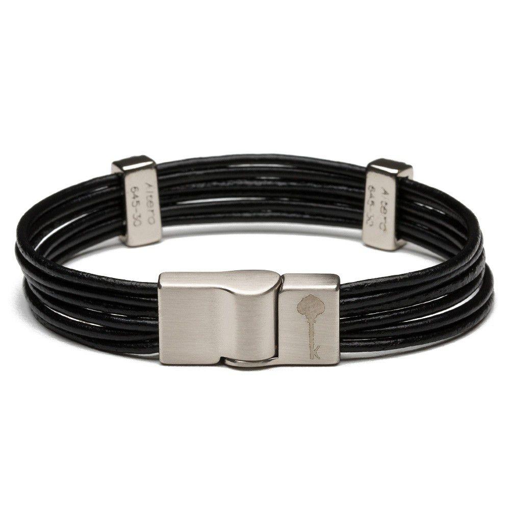 Pulseira Masculina Hilton Leather Silver