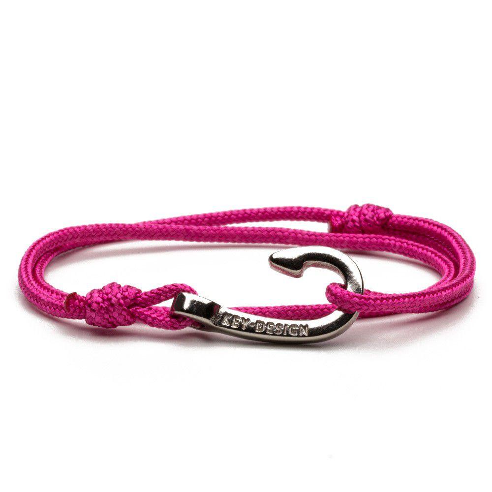Pulseira Feminina Hook Silver Pink Rope