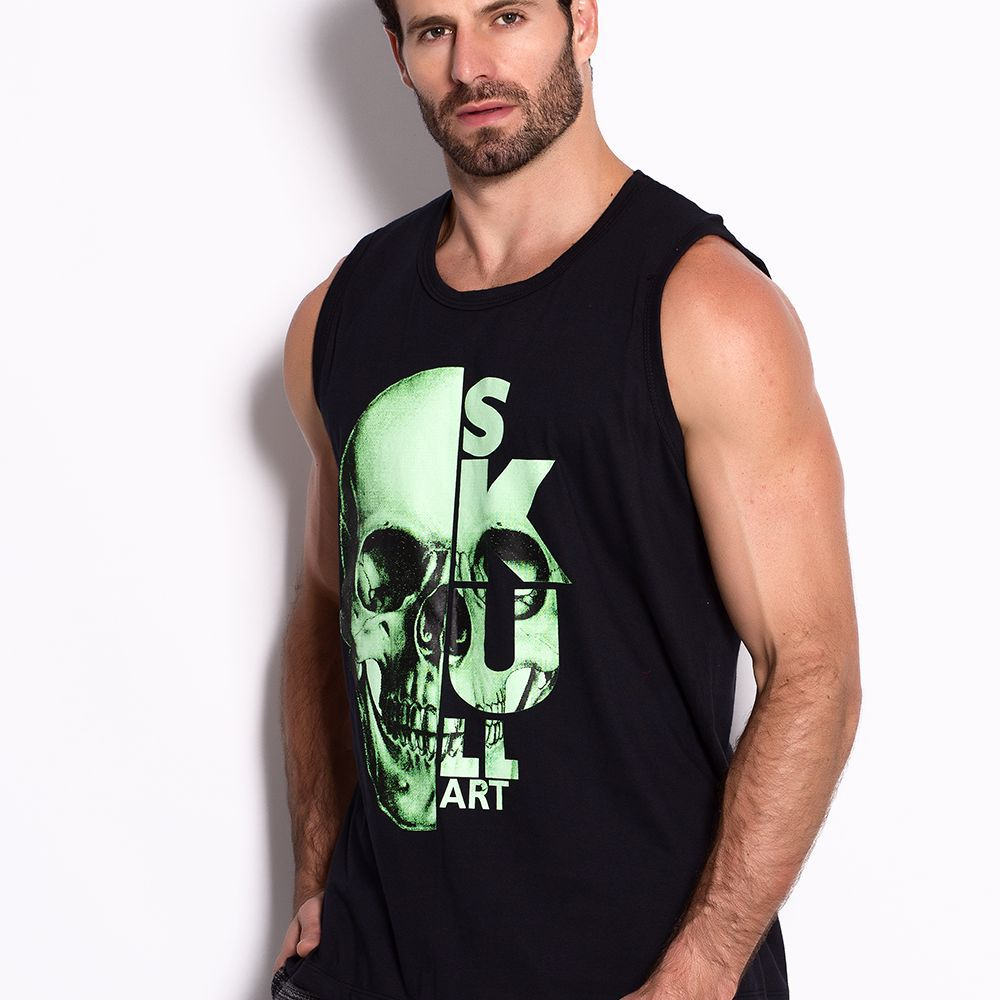 Regata Masculina Green Skull
