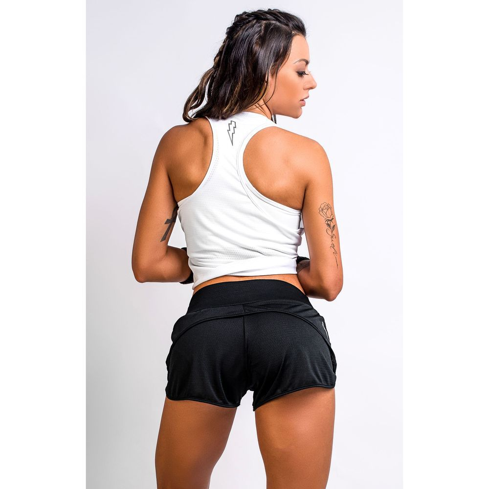 Short Fitness Feminino Preto Dry Fit Flash Up